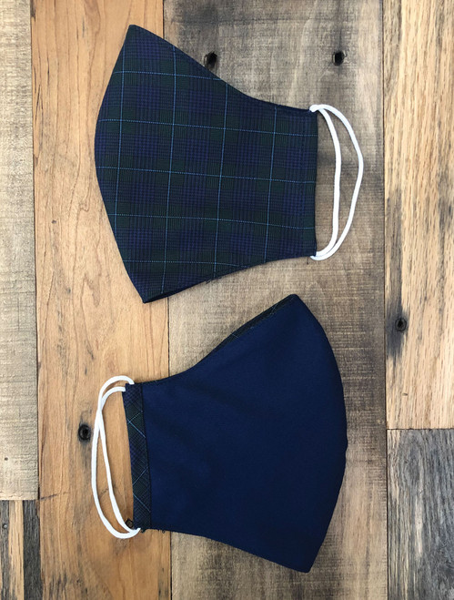 Tailor Made Fashion Face Mask Cotton Reversible Glen Plaid Prince of Wales Check Forest Green Navy