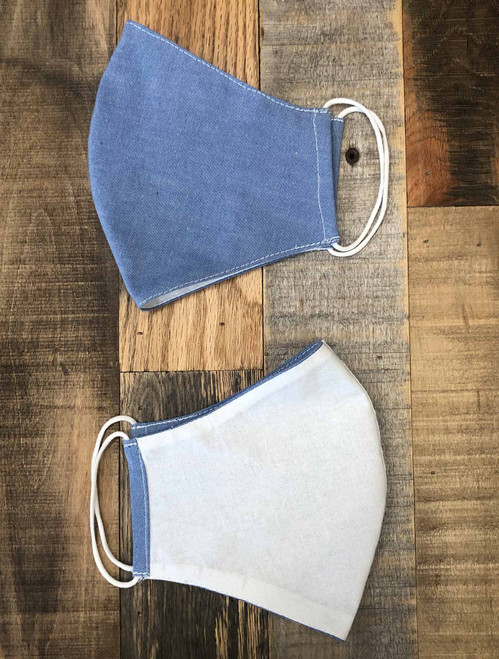 Light Blue Chambray / White Face Mask