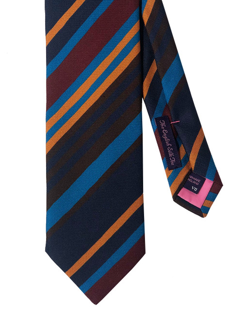 Seaward & Stearn Autumn Multicolor Silk Striped Tie Made in England