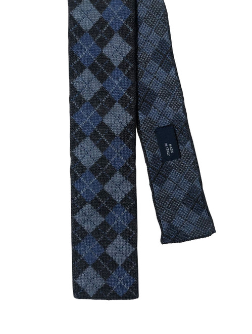 40 Colori Grey & Light Blue Argyle Wool Knit Tie Made in Italy
