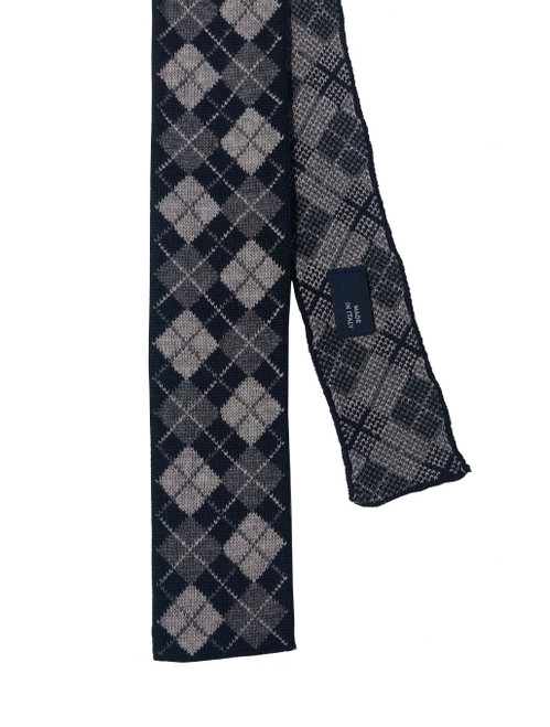 40 Colori Grey & Navy Argyle Wool Knit Tie Made in Italy
