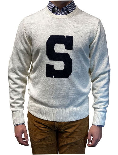 Alan Paine Penn State Varsity S Sweater Ivory