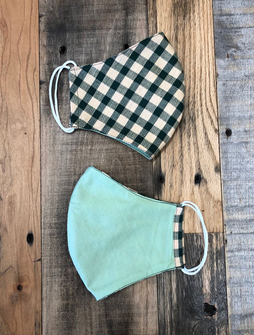 Tailor Made Fashion Face Mask Green & Tan Check / Light Green Face Mask
