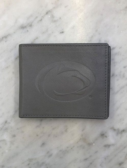 Penn State Wallet Gunmetal Grey Leather Bifold Open