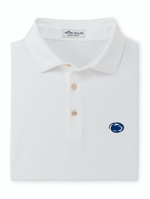 Penn State Polo White Peter Millar Performance Jersey