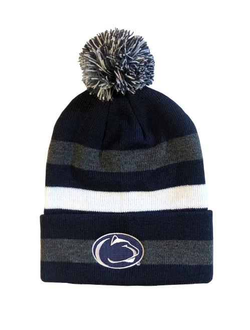 Penn State Striped Pom Hat Winter