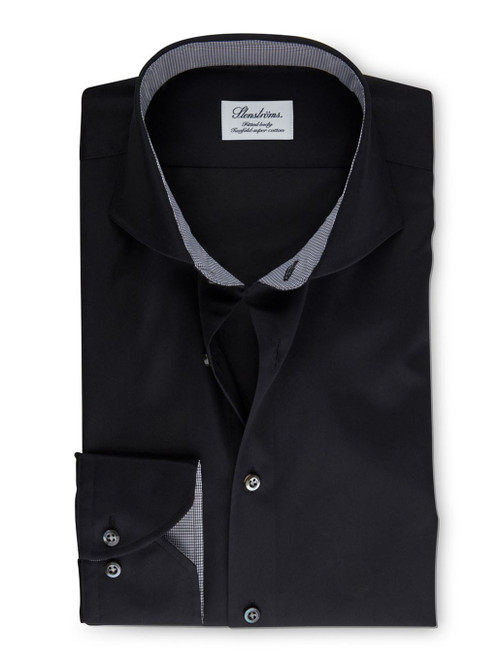 Fitted Body Shirt with Black Check Trim | Stenstroms