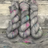 """Static Noise"" Hand Dyed Hitchhiker Sock Yarn"