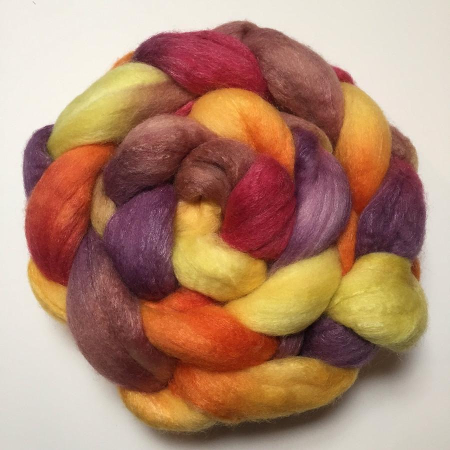 """Cornucopia"" Handpainted Polwarth/Silk Top (4oz)"