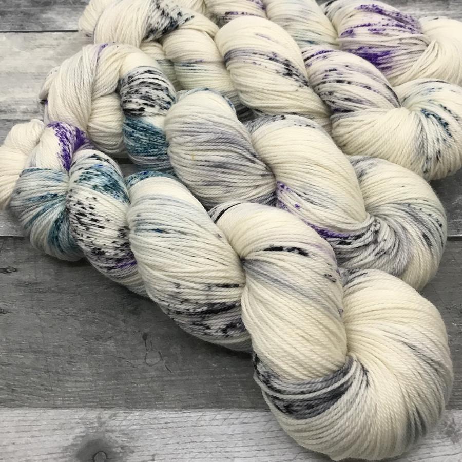 """Whiteout"" Hand Dyed Wanderlust Sock Yarn"