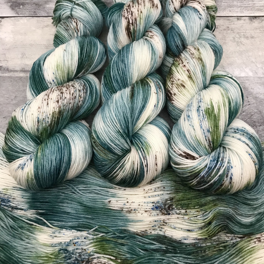 """Frosted Spruce"" Hand Dyed Hitchhiker Sock Yarn"