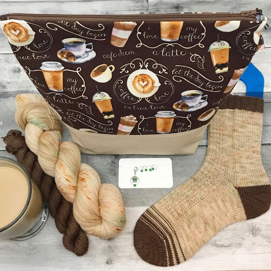 Irish coffee Sock Kit (Yarn, Bag, Stitch Markers)