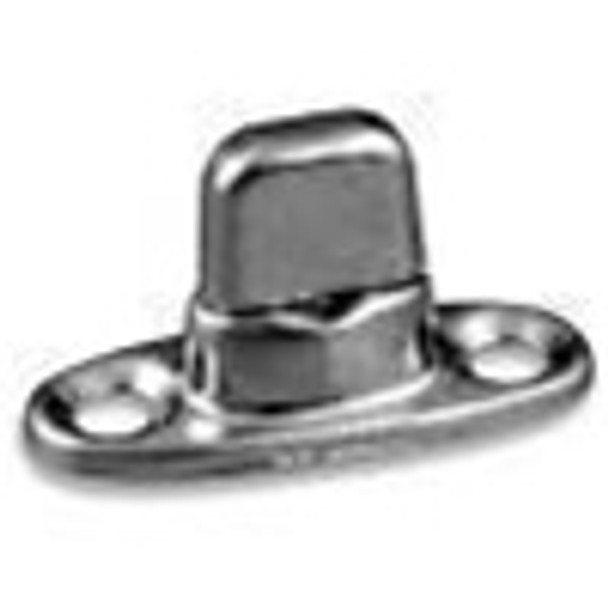 Twist Lock Fastener with 2 Mounting Holes - Nickel Plated Brass Finish