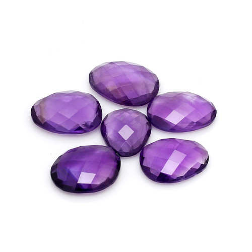 Amethyst African Rose cut Slice  -10 x 8.5 to 11 x 14 mm GSCAM014