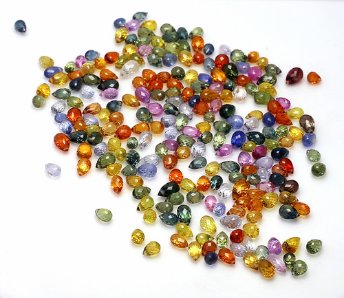 Multi Sapphire  Pear Briolette Faceted  102.65 Carats GSCMS002