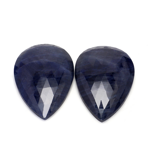 Blue Sapphire Pear Faceted Slice Rose Cut 24X35 mm 87.64 Carats GSCBS005