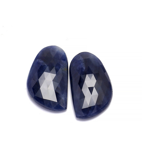 Blue Sapphire Faceted Slice Rose Cut 26X10 mm 36.85 Carats GSCBS006