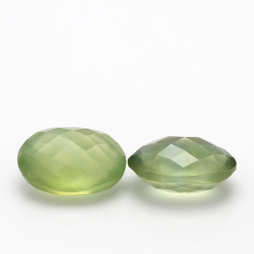 Prehnite Oval Double Side checkerboard Faceted 10X14 mm 13.59 Carats GSCPR003