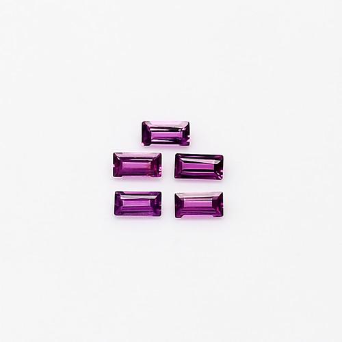 Rhodolite  Baguette Faceted Cut 2X4 mm 0.74 Carat  GSCRH006