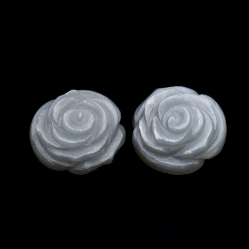 Grey Moonstone Rose Flower Carving 20X20 mm 2 Piece 37.75 Carats GSCGMON002