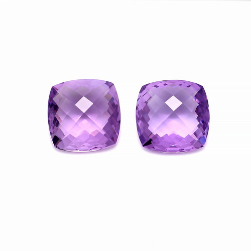 Amethyst Cushion Checkerboard Faceted 17X17 mm 2 Piece 32.98 Carat GSCAM017