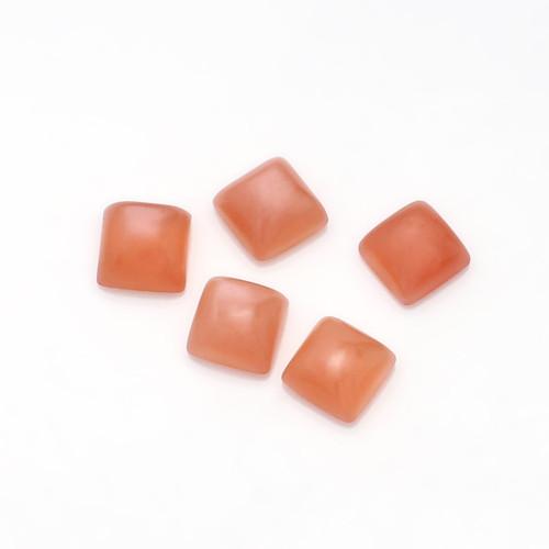 Peach Moonstone Cushion Cabochon 6X6 mm 5 Piece 5.71 Carats GSCPM003