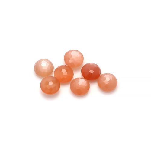 Peach Moonstone Random cut Round Briolette  7X7 mm 7 Piece 9.26 Carats GSCPM004