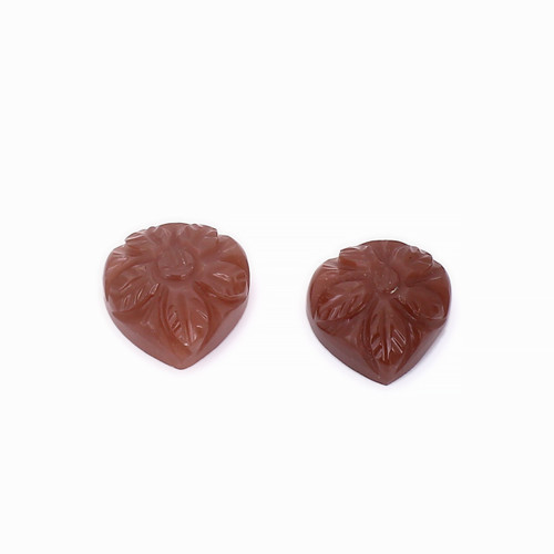 Chocolate Moonstone Pear Carving  10X10 mm 2 Piece 7.61 Carats GSCCM010