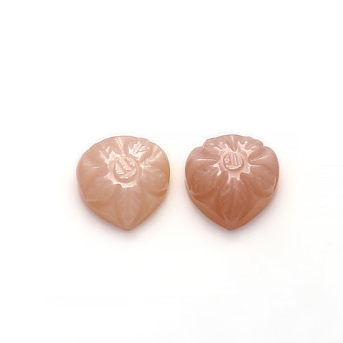 Cappuccino Chocolate Moonstone Pear Carving 10X10 mm 2 Piece 7.83 Carats GSCCM011
