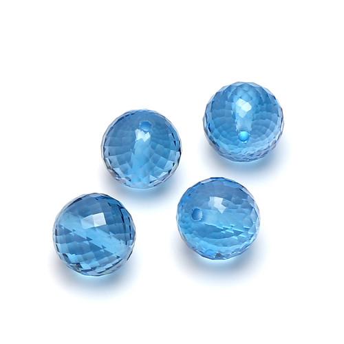 Swiss Blue Topaz Faceted Balls 10X10 mm 4 Piece 38.12 Carats GSCSBT002