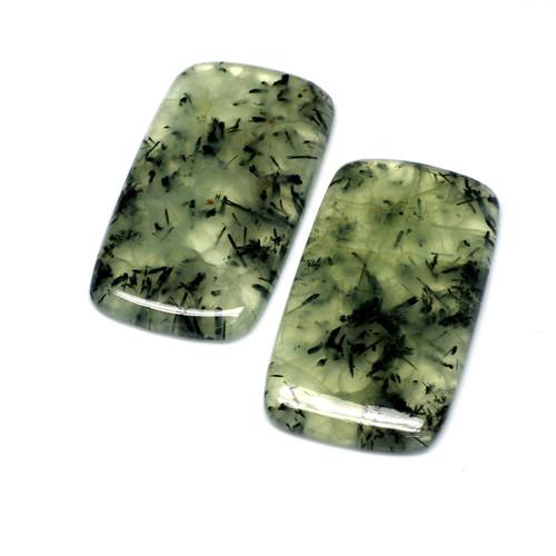 Moss Agate Cushion Cabochon 53X30 mm 1 Pair 186.88 Carats GSCMA002