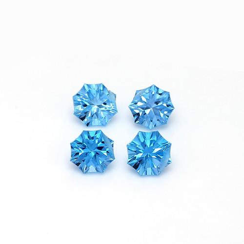Swiss Blue Topaz Faceted Fancy Stars  8X8 mm 4 Piece 8.88 Carats GSCSBT003