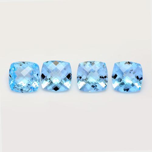 Swiss Blue Topaz Cushion Checkerboard Faceted  14X14 mm 16 Piece 182.83 Carats GSCSBT004