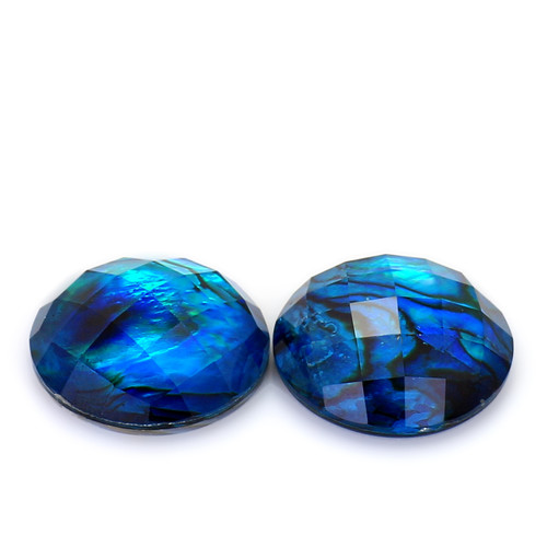 Abalone Round Checkerboard 15X15 mm 2 piece 15.85 Carats GSCABL001