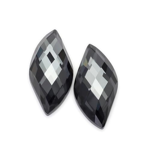 Hematite + Crystal Doublet Fancy Cut 11X22 mm 2 Piece 19.50 Carats GSCHMC001