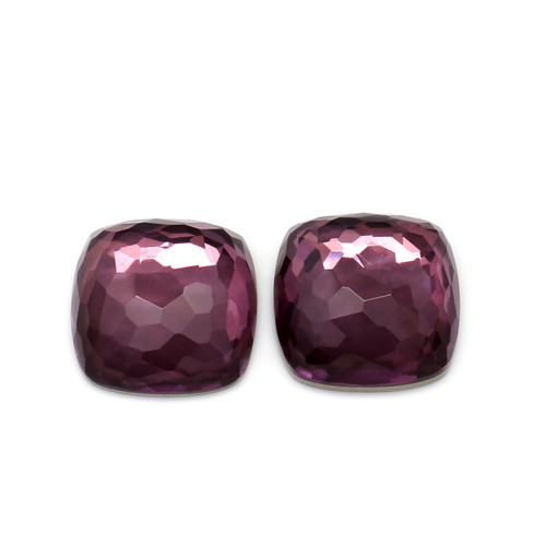 Amethyst+Pyrite  Cushion Faceted 14X14 mm 1Pair 24.72 Carats GSCAM023