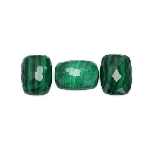 Malachite+Crystal Cushion Faceted 14X10 mm 3 Piece 18.59 Carats GSCMC007