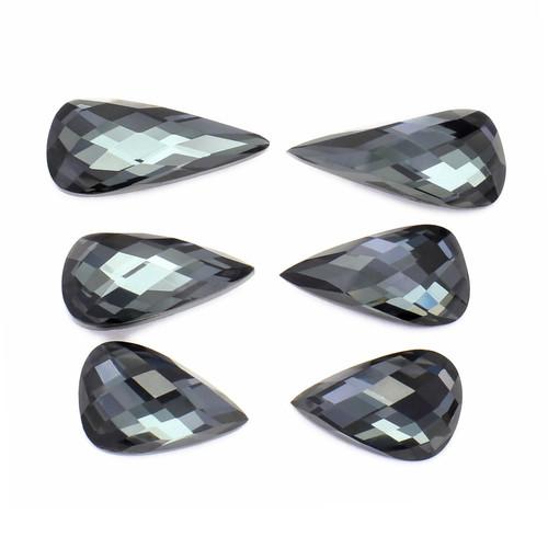 Hematite + Crystal Fancy Cut 10X19 / 10X22 / 11X17 mm 3 Pair 47.90 Carats GSCHMC003