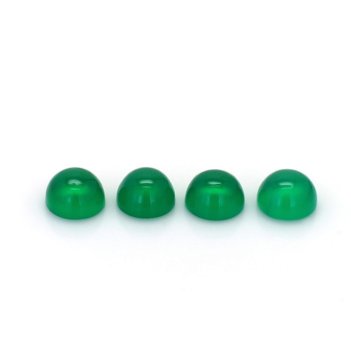Green Onyx Round Cab 6X6 mm 4 Piece 3.87 Carats GSCGON008