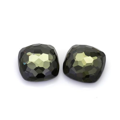Green Amethyst +Pyrite Cushion Faceted 17X17 mm  23.70 Carat GSCGAM003