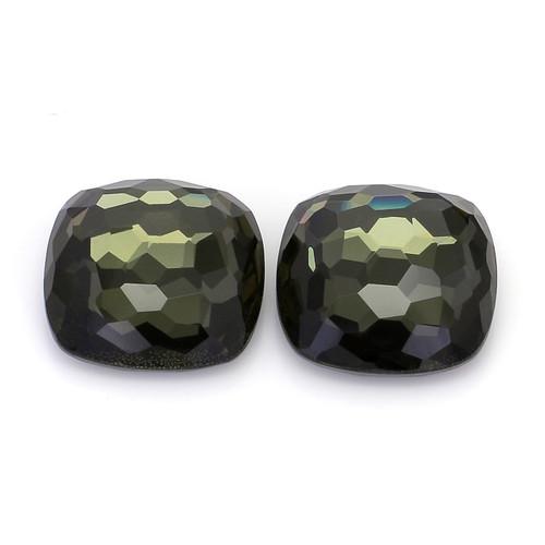 Green Amethyst +Pyrite Cushion Faceted 18X18 mm 45.95 Carat GSCGAM004