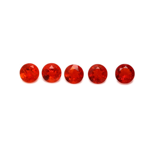 Fire Opal Round Faceted 4X4 mm 5 Piece GSCFO028