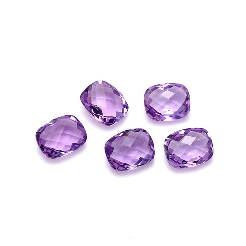 Amethyst Cushion Double Side Checkerboard Faceted 8X10 mm 5 Piece 14.19 Carat GSCAM030