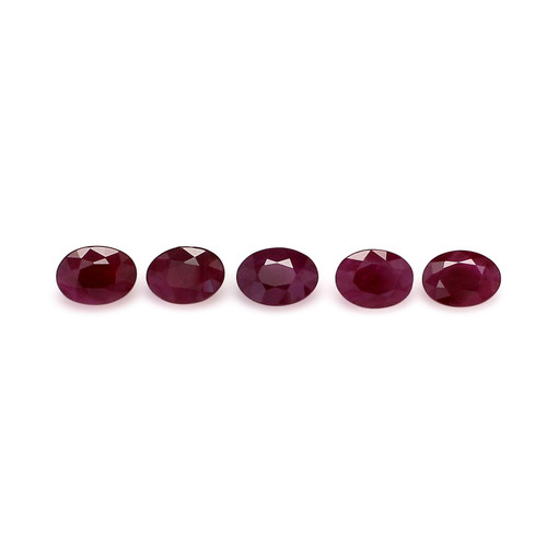 Ruby Oval Faceted 5X7 mm 5 Piece 4.60 Carats GSCRUB0005