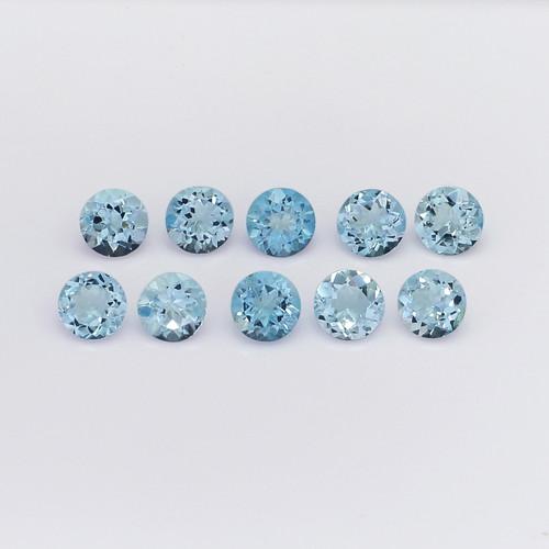 Aquamarine Round Faceted 6X6 mm 10 Pieces 8.96 Carats GSCAQ114