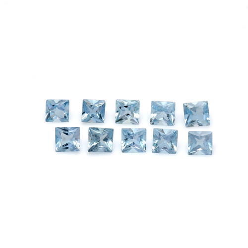 Aquamarine Square Faceted 4X4 mm 10 Piece 3.02 Carats GSCAQ130