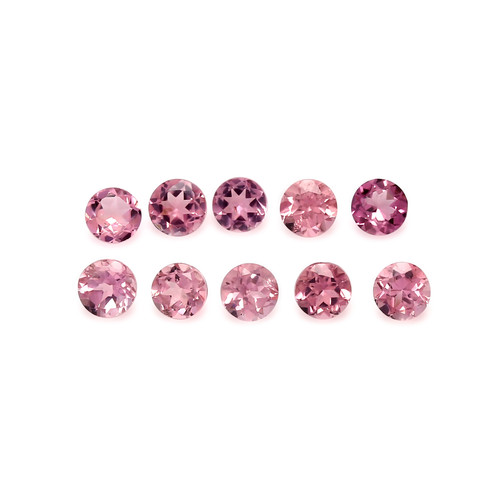 Tourmaline Pink Faceted Round 4X4 mm 10 Piece 2.62 Carats GSCTO296