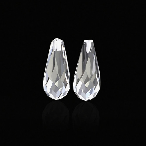 Crystal Briolette / Drops  6X15 mm 1 Pair  6.74 Carats  GSCCRY017