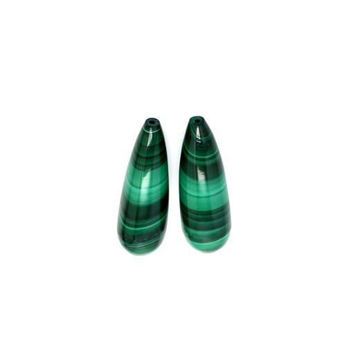 Malachite  Briolette / Drops  8X25 mm 33.93 Carats GSCMC008