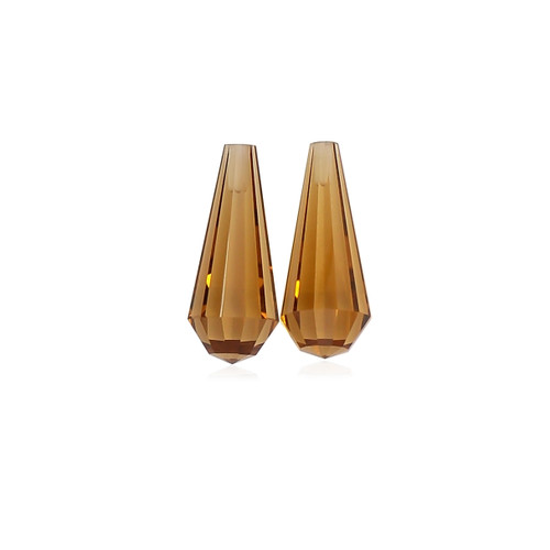 Whisky Quartz Briolette / Drops 15X6 mm 1 Pair 5.80 Carats GSCWQ003